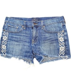 Lucky Brand Cut Off Embroidered Jean Shorts